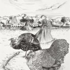 Tolstoy the Chicken Thrashing Wheat at Yasnaya Polyana Alongside His Peasant Love, Aksinia Bazykina the Turkey /  35.5 x 28 cm / 2011